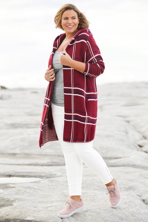 Plus Size - Sara Check Hooded Coatigan