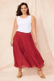 Plus Size - Sara Wide Leg Pleat Pants - 248019