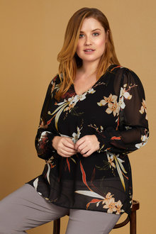 Plus Size - Sara Chiffon Long Sleeve Top