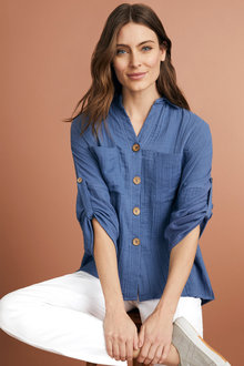Capture Textured Tab Sleeve Shirt - 248064