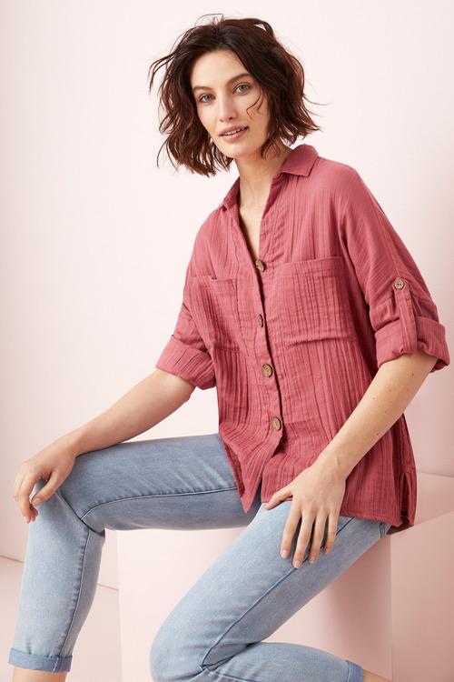 Capture Textured Tab Sleeve Shirt