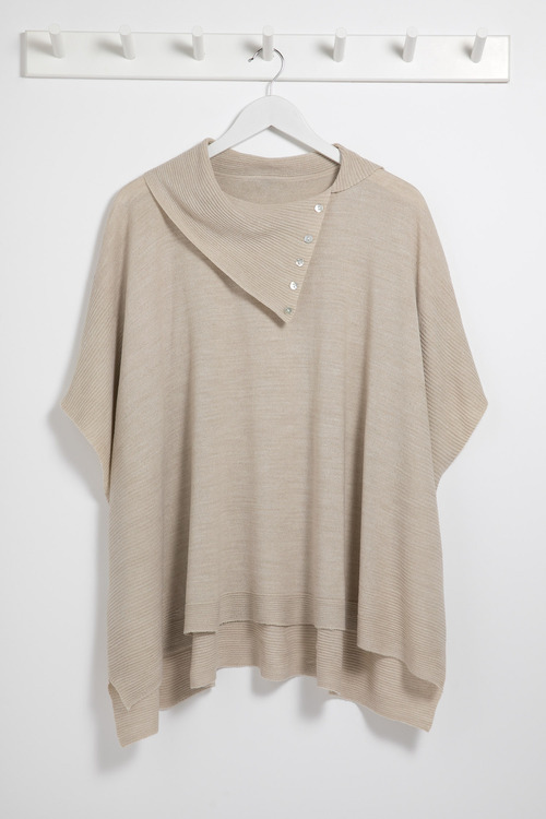 Capture Button Neck Poncho