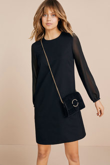 Emerge Chiffon Sleeve Black Dress