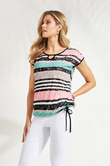 Euro Edit Stripe Burnout Top - 248265