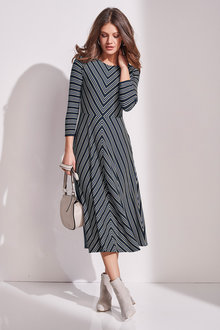 European Collection Striped Knit Dress