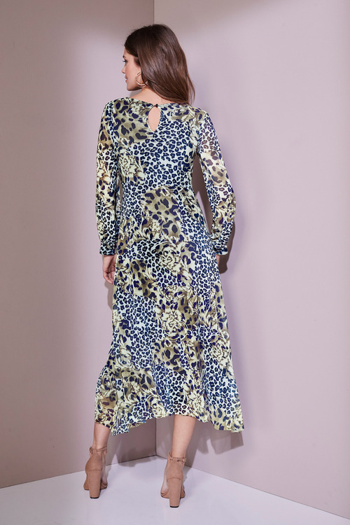 European Collection Animal Print Mesh Dress