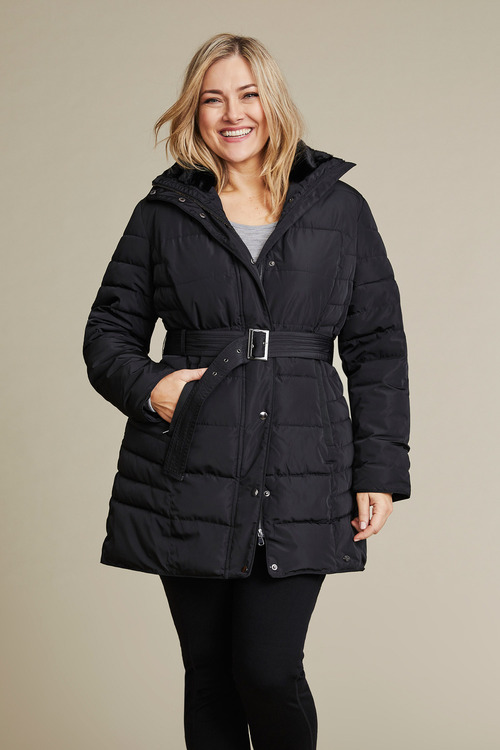 Plus Size - Isobar Plus Longline Belted Puffer Jacket