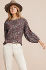 Emerge Gather Detail 3/4 Sleeve Top