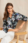 Grace Hill Silk 3/4 Sleeved Round Collar Shirt