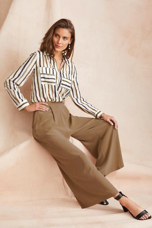 Grace Hill Silk Pleat Front Culottes