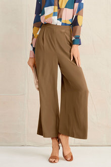Grace Hill Silk Pleat Front Culottes - 248322