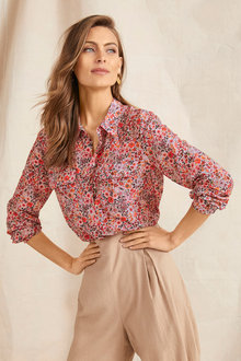 Grace Hill Cotton Silk Blend Shirt - 248326