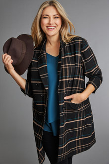 Plus Size - Sara Check Longline Coat