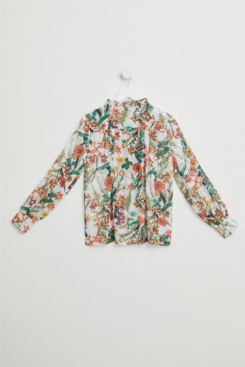 Emerge Printed Lace Trim Blouse