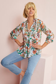 Emerge Printed Lace Trim Blouse - 248337