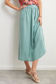 Grace Hill Satin Midi Skirt - 248469