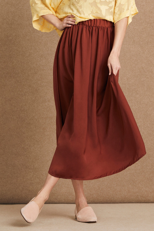 Grace Hill Satin Midi Skirt