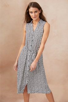 Capture Button Through Shirt Dress - 248487