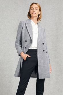 Grace Hill Wool Blend Double Breasted Coat - 248578