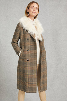Grace Hill Faux Fur Detachable Collar Coat