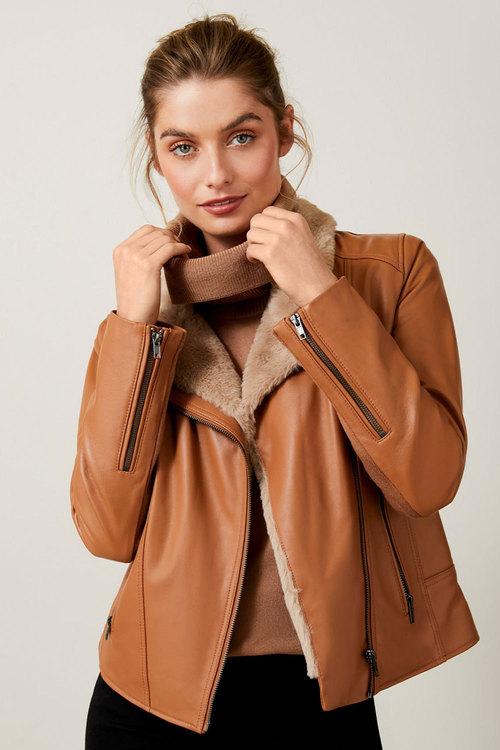 Capture Faux Fur Trim Leather Jacket