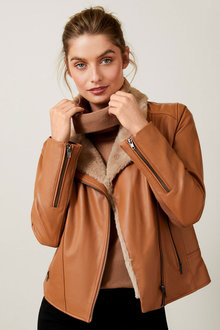 Capture Faux Fur Trim Leather Jacket - 248584