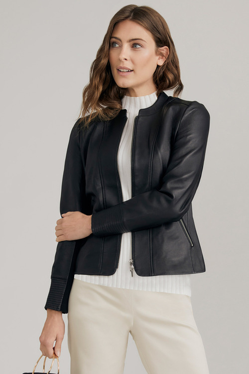 Capture Collarless Leather Jacket