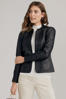 Capture Collarless Leather Jacket - 248585
