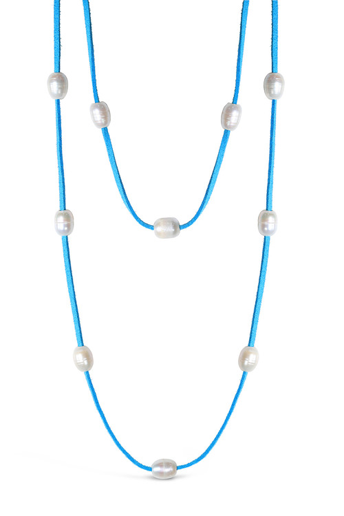 By Fairfax & Roberts Real Freshwater Pearl and Suede Multi Wrap Necklace