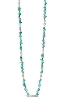 By Fairfax & Roberts Real Freshwater Pearl and Amazonite Long Necklace
