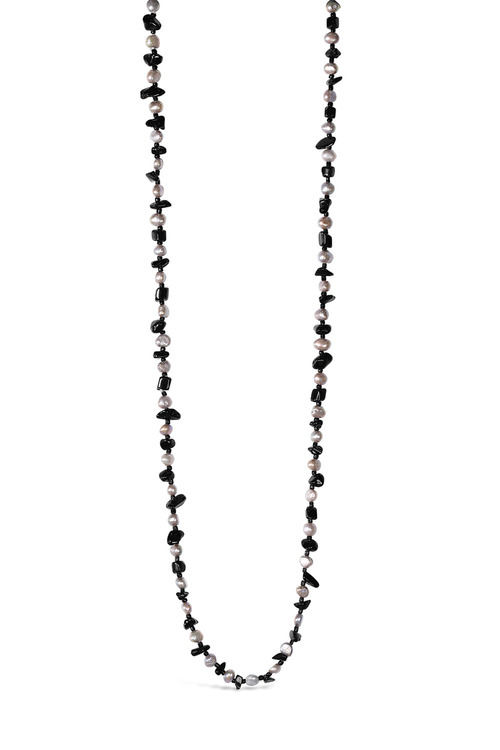 By Fairfax & Roberts Real Freshwater Pearl and Onyx Long Necklace