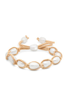 By Fairfax & Roberts Real Freshwater Pearl and Suede Bracelet