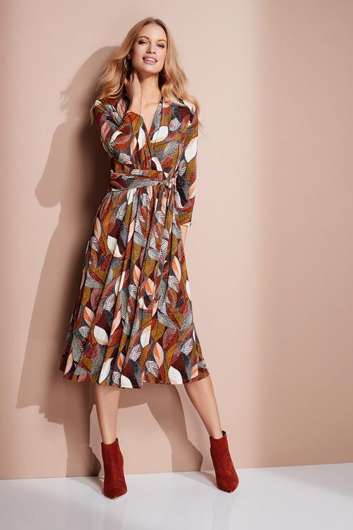 European Collection Jersey Wrap Print Dress