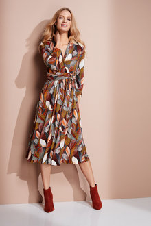 European Collection Jersey Wrap Print Dress - 248688
