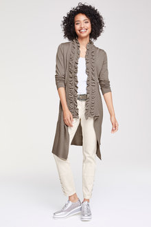 Heine Ruffle Detail Long Cardigan