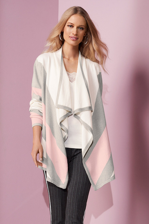 European Collection Colour Splice Waterfall Cardi