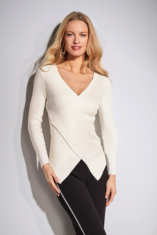 European Collection Cross Over Rib Sweater