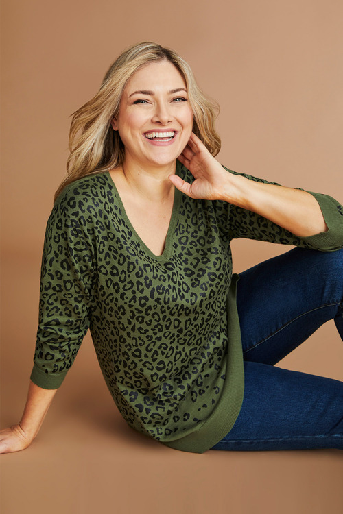 Plus Size - Sara Printed Sweater