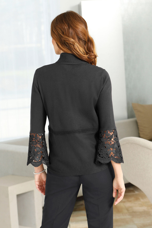 Euro Edit Lace Sleeve Cardigan
