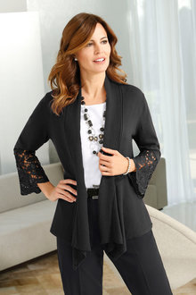 Euro Edit Lace Sleeve Cardigan - 248738