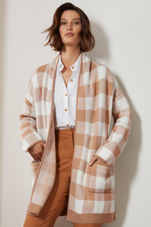 Grace Hill Check Cardi Coat - 248756