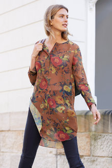 Capture Longline Half Placket Blouse - 248772