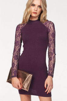 Urban Knit Dress with Lace Sleeves - 248812