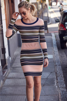 Urban Stripe Knit Dress - 248814