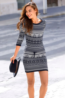 Urban Patterned Knit Dress - 248816