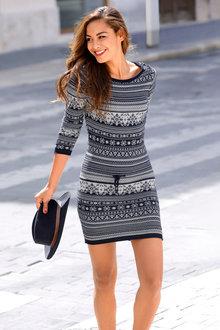 Urban Patterned Knit Dress - 248816