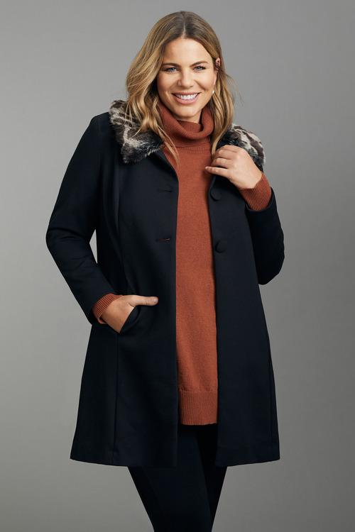 Plus Size - Sara Fur Collar Jacket