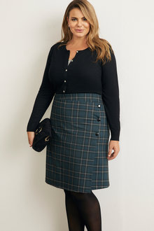 Plus Size - Sara Ponte Check Skirt