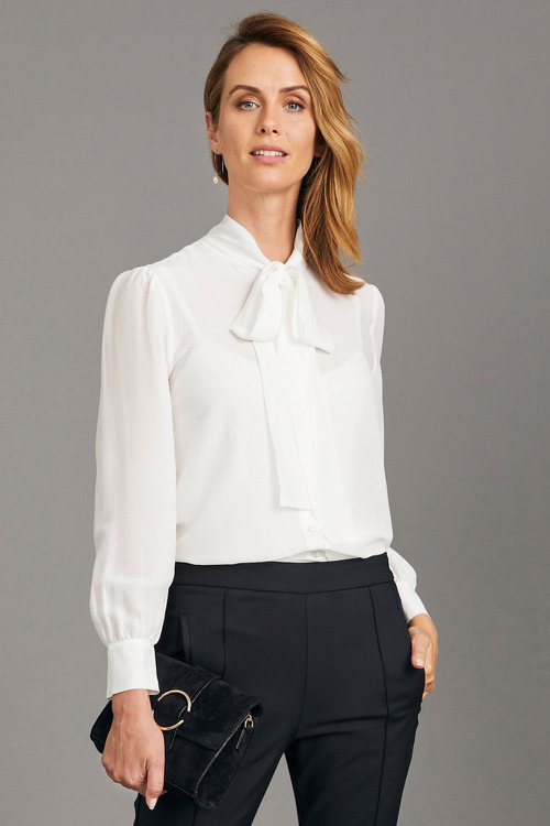 Simply You Silk Pussy Bow Blouse