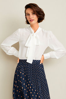 Simply You Silk Pussy Bow Blouse - 248872